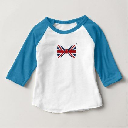 Baby 3/4 sleeve Raglan T-shirt Union Jack Bow Tie Baby T-Shirt - baby gifts child new born gift idea diy cyo special unique design