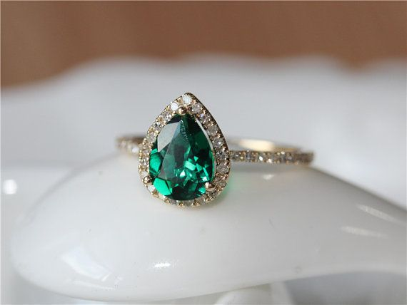 1.6ct Pear Cut Emerald Ring Set 14K Yellow Gold Pave by ByLaris