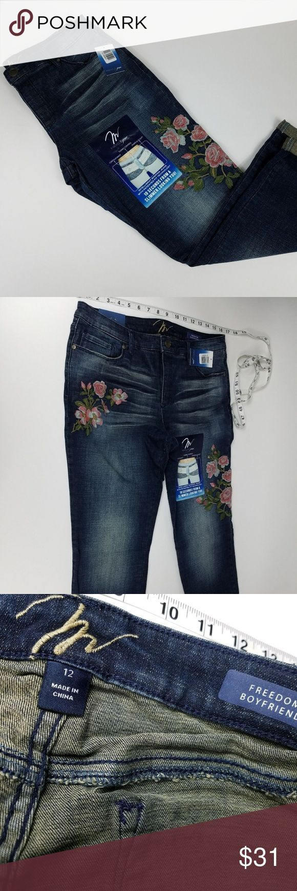 NWT Miracle Body Womens Crop Jean Size 12 Floral Miracle Body Womens Crop Jean Size 12 Floral Freedom Boyfriend Tummy Control -P1 Miracle Body Jeans Ankle & Cropped