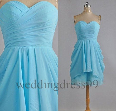 Custom Sky Blue Short Chiffon Bridesmaid Dresses by weddingdress99, $58.00