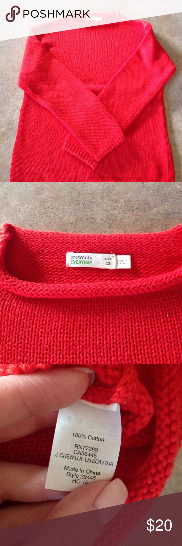 J crew kids orange/red cotton sweater! NWOT, in perfect condition! J Crew Kids Shirts & Tops Sweaters