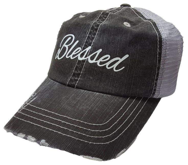 "Women's Baseball Caps, ""Blessed "" Distressed Glitter Ladies Trucker Baseball Hat Cap, Womens Hats, Womens Caps, Womens Baseball Cap, Gifts by MBellishedHats on Etsy"