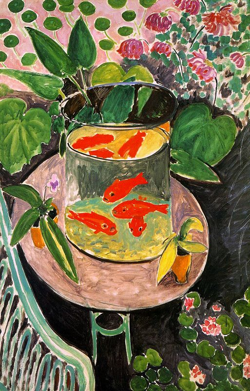 my first art purchase for myself in university - poster of Matisse Goldfish