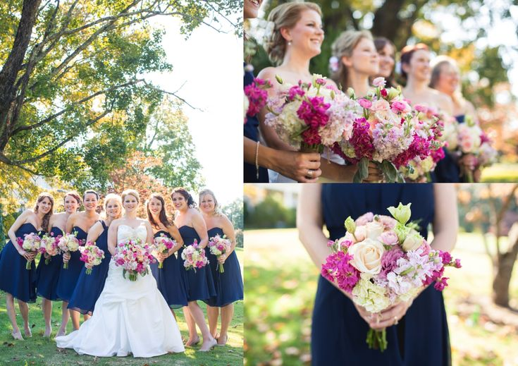 navy and pink wedding party   Navy and Pink Fall Wedding in Knoxville, Tn The Bride Link