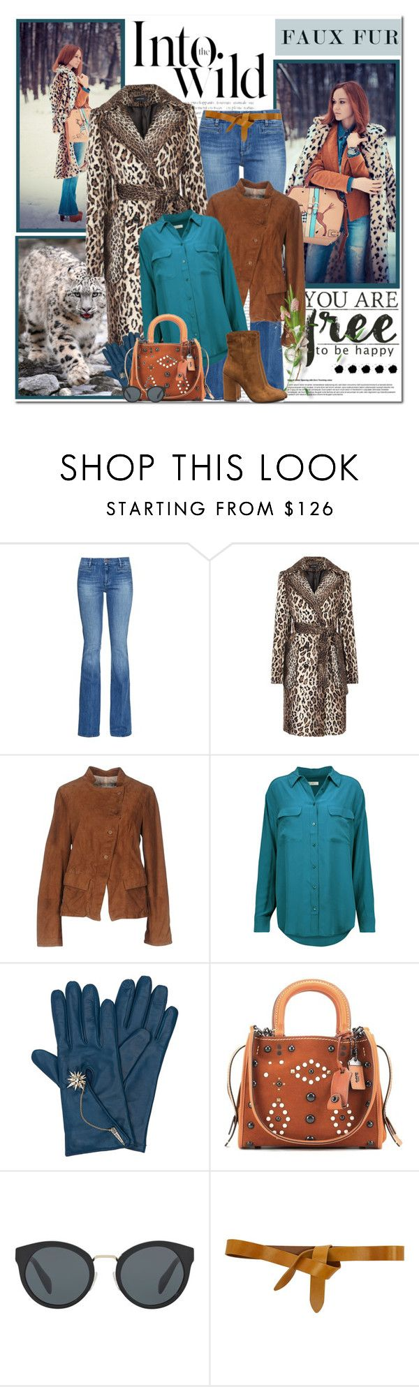 """""""Faux Fur Coats"""" by likepolyfashion ❤ liked on Polyvore featuring M.i.h Jeans, VINTAGE DE LUXE, Equipment, Henri Bendel, Coach, Anja, Prada, Isabel Marant, Gianvito Rossi and fauxfur"""