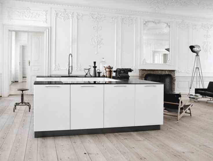 Bleached Wood Floors + Minimal Cabinetry + Ornate Wall Moulding