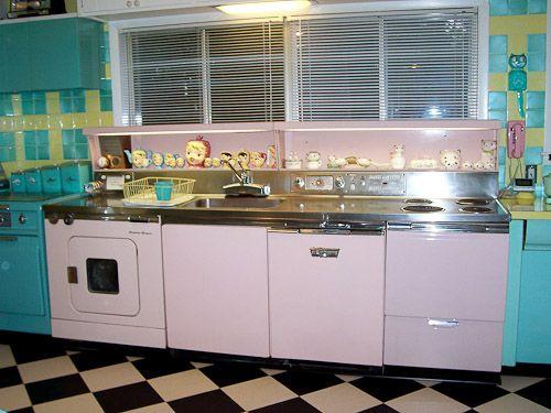1956 PINK GE KITCHEN CENTER: Stove, 1950S Kitchens, Vintage Kitchens, Mid Century, Pink Kitchens, Dishwasher, Midcentury, Retro Kitchens, Kitschy Kitchens