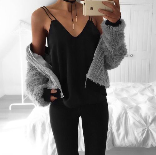 Black Cami with grey knit