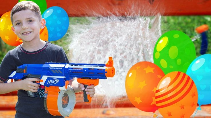 Learn Colors With Nerf Gun- Popping Water Balloon For Kids & Learn Colour