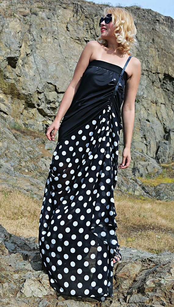 Summer Maxi Dress TDK262, Polka Dot Asymmetrical Dress, Polka Dot Dress, WILDFLOWER