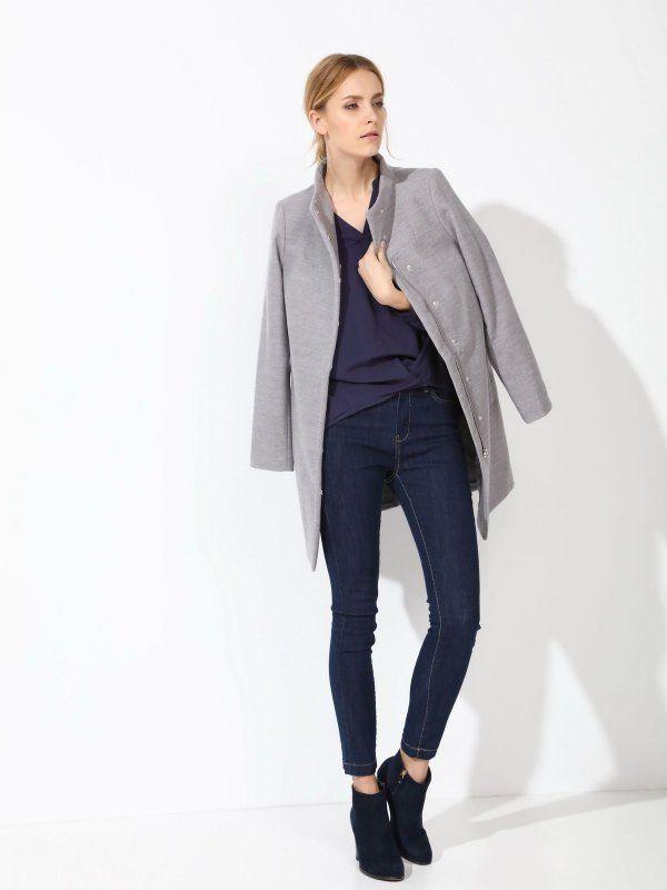 Damski płaszcz Top Secret z kolekcji wiosna 2017 grey coat spring płaszcz przejściowy gładki szary