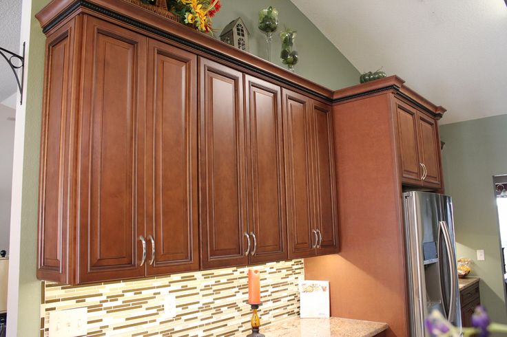 Fabuwood Wellington Cinnamon Wall Cabinets Refrigerator