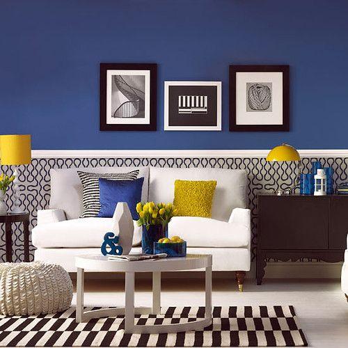crisp blue and yellow black&white