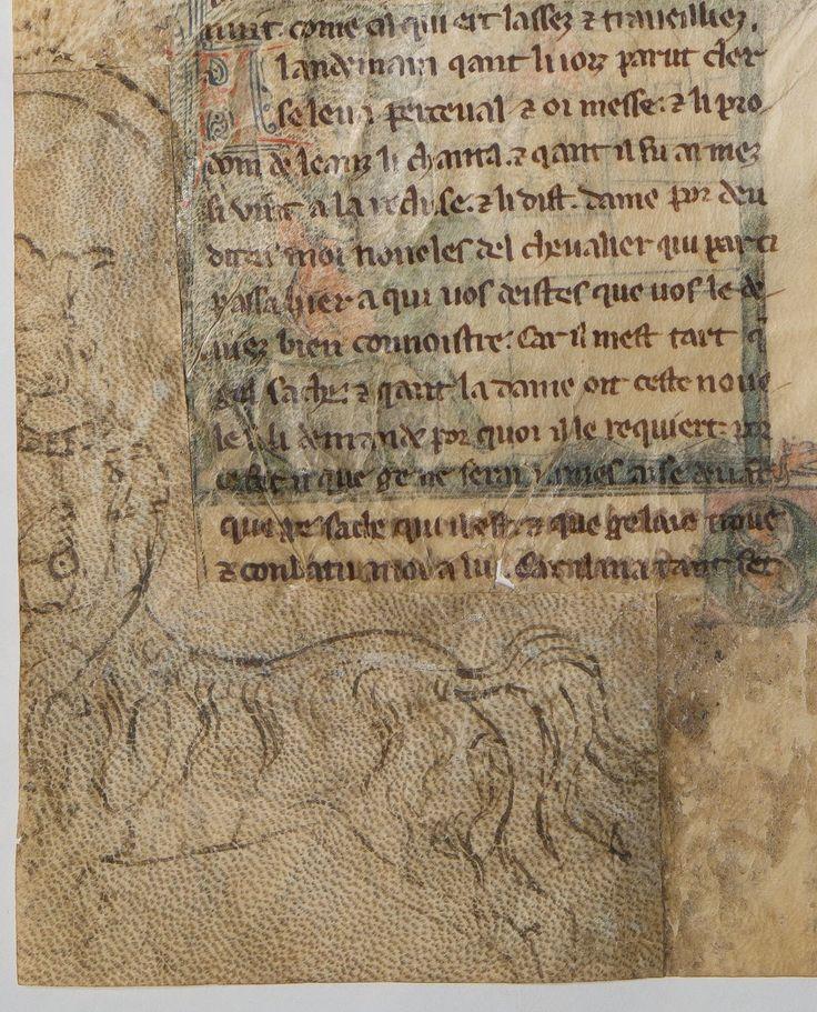 Pre-decorated parchment patch | Roman de Lancelot du Lac, Quête du S. Graal et Mort d'Artus, par GAUTIER MAP. Source: http://gallica.bnf.fr/ark:/12148/btv1b52505724b/f406.item.r=, Bibliothèque nationale de France, Département des manuscrits, Français 12573, fol. 201v. | Date d'édition :  1201-1400
