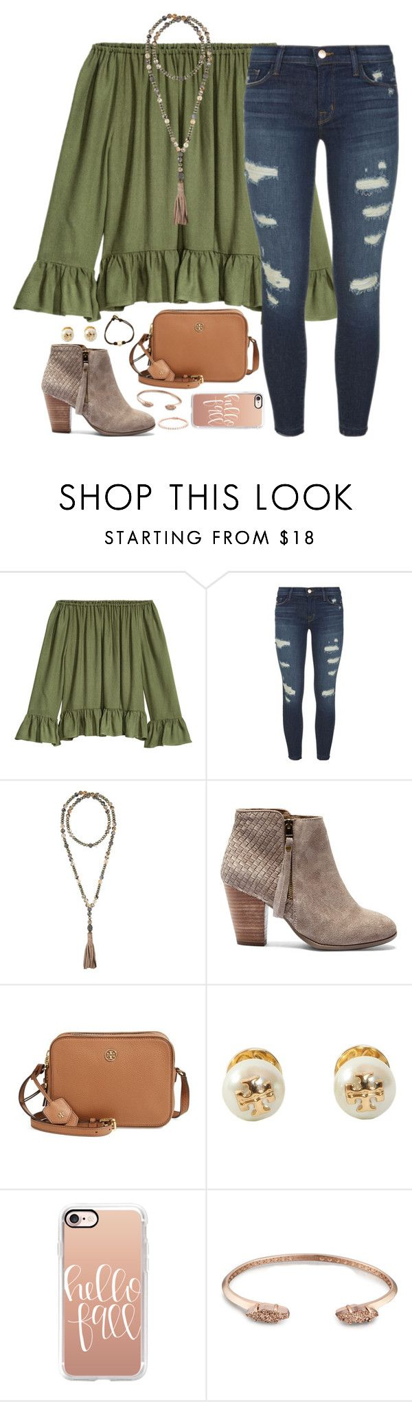 """""""when you're a downie, eat a brownie"""" by kaley-ii ❤ liked on Polyvore featuring J Brand, Hipchik, Sole Society, Tory Burch, Casetify and Kendra Scott"""