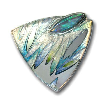 Carolyn Delzoppo - Brooch, 2010 - Stg and fine silver, cloisonné and champleve enamel - emulating the cool blues amd greens in the beautiful Andamooka marquis cut opal