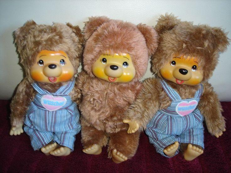 3 alte Monchhichi Monchichi Bären Wuschel... (Puschel?) - Vintage Sekiguchi?
