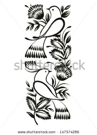 decorative ornament, hand drawn, vector, black illustration in Ukrainian folk style - stock vector