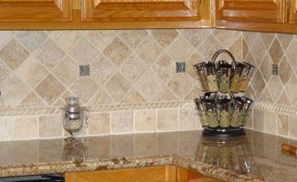 best tile in a kitchen with oak cabinets - Google Search