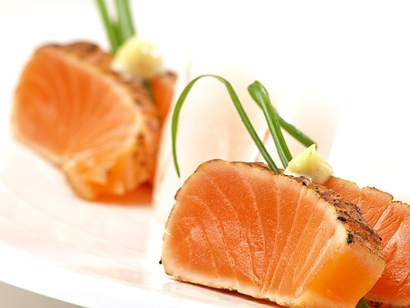 """Why not have some """"Seared Salmon"""" for dinner on """"Tasty Tuesday""""? After all, Salmon has plenty of nutritional benefits! http://rajanjolly.hubpages.com/hub/Health-Benefits-Of-Salmon-Fish Salmon is an oily (fatty) fish. It is rich in protein, the omega 3 fatty acids, Vitamins D, B3 and B12 and the minerals like selenium and phosphorus."""
