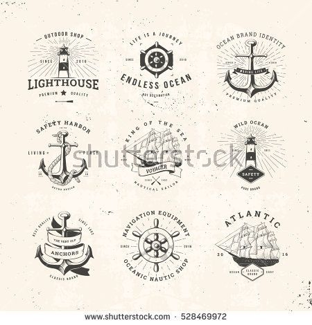 Set of Vintage Nautical Typographical Logos