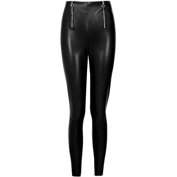 Boohoo Laura Double Zip Leather Look Trouser ($32) ❤ liked on Polyvore featuring pants, tailored pants, wide leg palazzo trousers, fake leather pants, basic tee shirts and wide leg pants