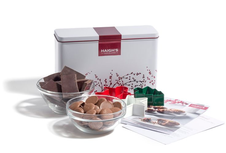 The perfect gift for the cook in your life - Christmas Cooking Gift Tin $39.50 AUD This special Christmas cooking kit includes two exclusive recipes and chocolate to cook them with in a white Christmas Berries hamper tin. #haighs #chocolate #haighschocolates #gift #Christmas #HaighsOnline www.haighschocolates.com
