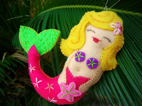 Pdf Pattern  Mermaid Ornament Tutorial Felt Christmas by Iktomi, $4.99