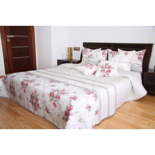 Prehoz na posteľ bielej farby s motívom ruží
