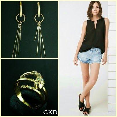 Anel de cobra com zircônias e brincos fios de ouro, www.ckdsemijoias.com.br