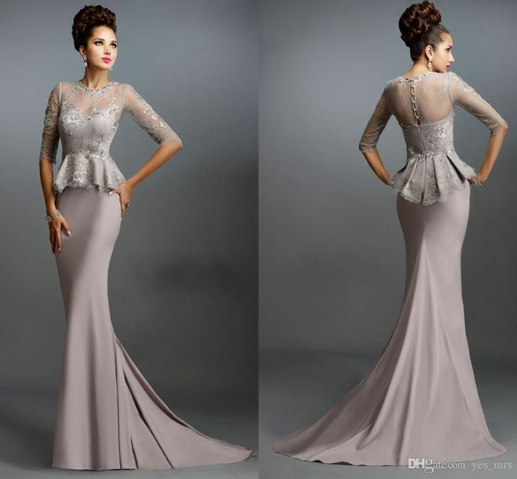 Janique 1169 Mother Off Bride Dresses 2015 New Crew Neck Long Sleeves Sheer Plus Size Lace Mermaid Peplum Illusion Back Formal Mothers Gowns Online with $119.38/Piece on Yes_mrs's Store | DHgate.com