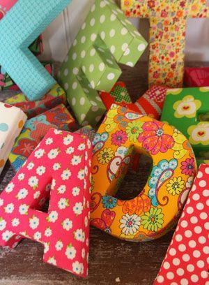 Tygklädda bokstäver, fabric covered letters #letters #fabric