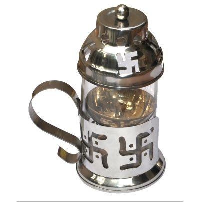Buy DakshCraft Akhand Navratri Brass Diya with Steel cover