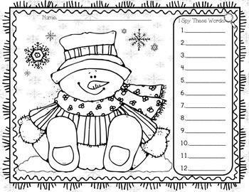 I Spy Sight Words Snowman (Free)