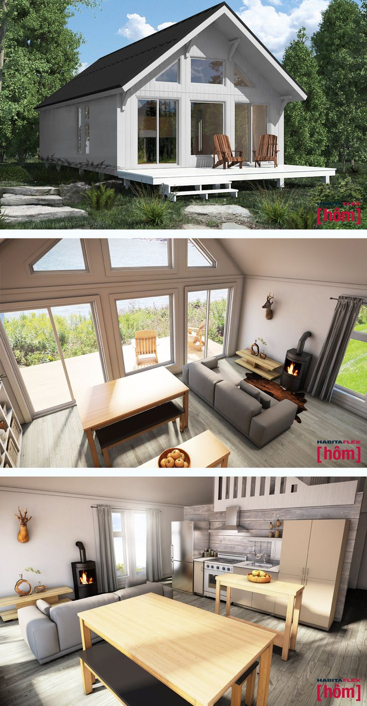 HABITAFLEX CONCEPT inc., Montmagny (Québec) CANADA. 100% prefabricated. 100% optimized. Requires no construction, no expensive foundations. Ready and easy to install. Ready to connect to services. And you're ready to move in decorate. La vie de chalet simplifiée.