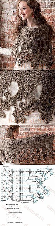 Шаль с цветочной каймой / Вязание крючком / Женская одежда крючком. Схемы.