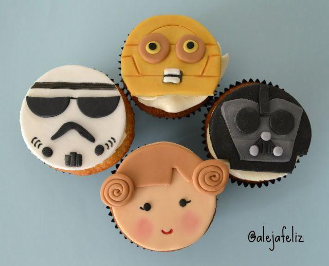 Star Wars Cupcake Toppers, Star Wars Cupcakes, Star Wars Cookies, Star Wars Cake, Star Wars Party, Star Wars Birthday Cake, Birthday Cakes, Cupcakes Amor, Star Wars Kids