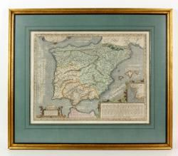 """""""Hispaniae Ve Teris Descripto,"""" hand colored engraved map, dated 1586, map of SpainThe Estate of Mary L. Alchian of Palm Springs, CA 