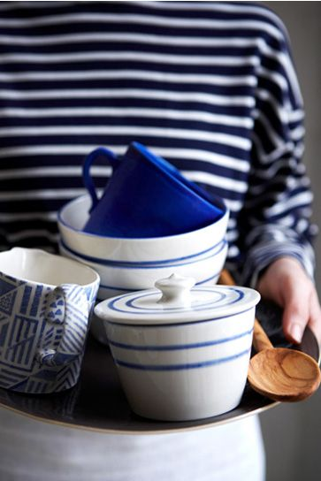 blue breton background to striped pottery