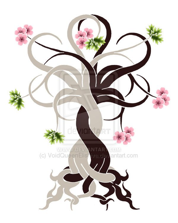 Intertwined Trees: Oak Cherry by ~VoidQueenElishiva on deviantART