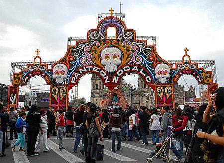 Decorated entrance to the Panteon Zocalo in Mexico City on Dia de los Muertos  Photo credit: AlejandroLinaresGarcia