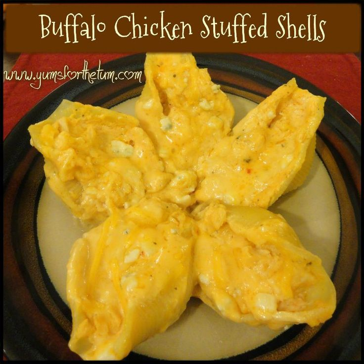Buffalo Chicken Stuffed Shells.  These super creamy and cheesy shells are packed with buffalo chicken flavor and are sure to please.