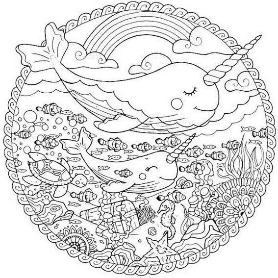 Narwhale Stained Glass Coloring Page Unicorn Coloring Pages Ocean Coloring Pages Cute Coloring Pages