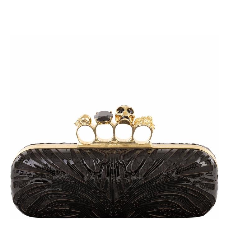 perlas de negro Clutch de Mcqueen Alexander Tf8llgdv cuero 5UwBEvqB