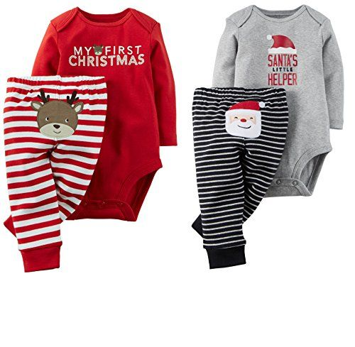 Baby's first Christmas gets even more festive with these two adorable holiday outfits! Expandable shoulders Nickel-free snaps on reinforced panel Carter's Baby 2 Christmas Sets My First Christmas and Santa's Helper (9 months)