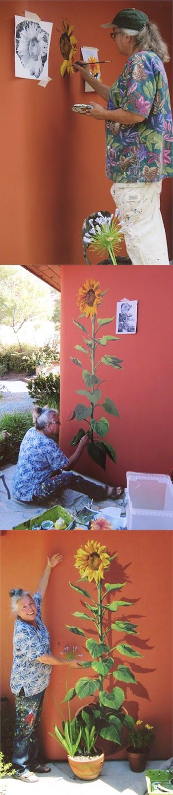 Sunflower mural art by Nadi Spencer...very cool, but I think Bill would kill me if I painted the outside of the house!
