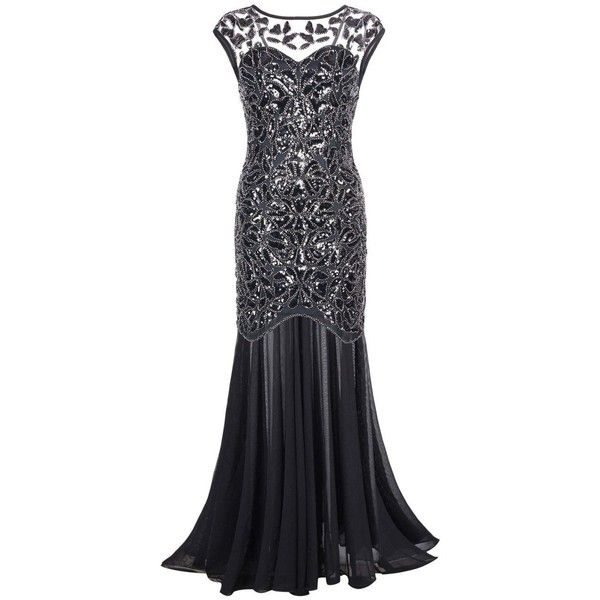 Kayamiya Women's 1920s Beaded Sequin Floral Maxi Long Gatsby Flapper... ($48) ❤ liked on Polyvore featuring dresses, maxi dress, beaded prom dresses, floral maxi dress, floral dresses and sequin maxi dress