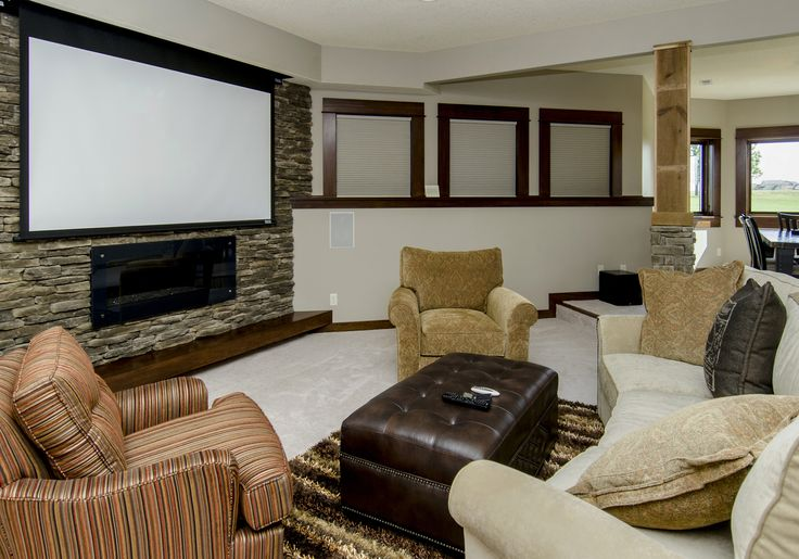 Linear Fireplace With Projector Screen Above It Black Out