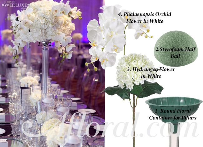 diy tall white hydrangea and orchid centerpiece using round floral container for pillars orchidcenterpiece - Silk Arrangements For Home Decor 2