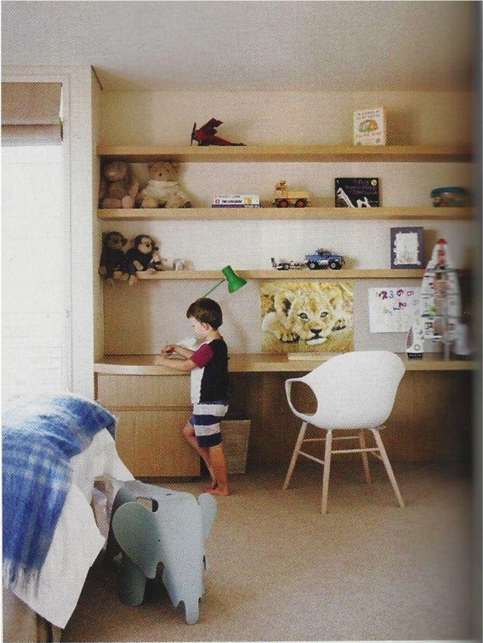 Built in desk / shelving for boys room